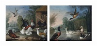 mallard and geese by a pond (+ a cockerel and chickens by a barn in a landscape; pair) by marmaduke cradock