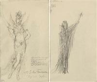 le essai/melle subra/ière danseuse.... kostümentwurf für die figur der muse terpsichore in der oper sapho von charles gounod (+ stehende figur in weitem gewand, verso) by gustave moreau