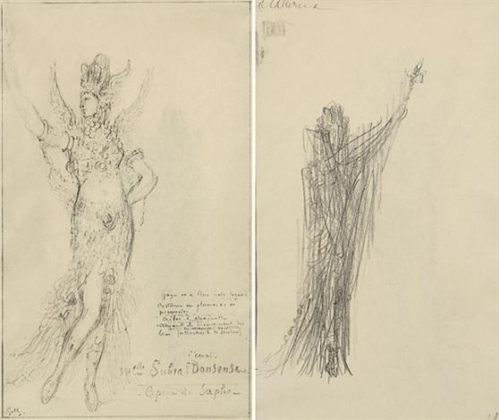 le essaimelle subraière danseuse kostümentwurf für die figur der muse terpsichore in der oper sapho von charles gounod stehende figur in weitem gewand verso by gustave moreau