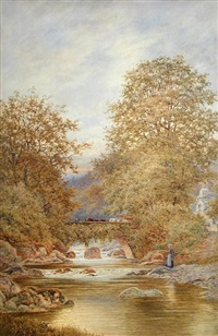 logging cars crossing a river bridge whilst a villager collects water from the river by robert dobson
