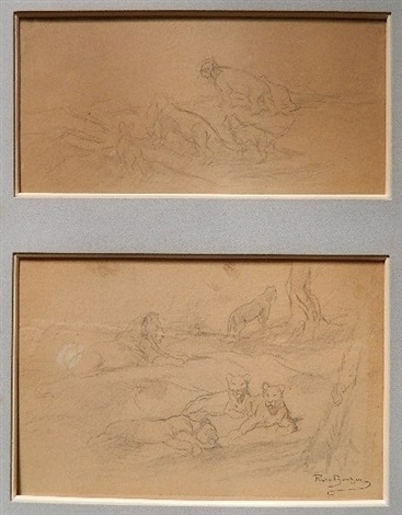 lions 2 works matted together by rosa bonheur