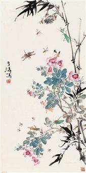 秋趣图 立轴 设色纸本 (in autumn) by wang xuetao