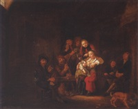 peasant interior with figures drinking by gerrit lundens