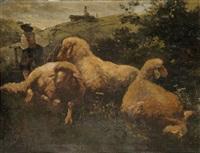 drei schafe auf der weide by johann baptist hofner