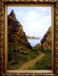 chemin et rochers au bord de la mer by urbain vincent paul grossin