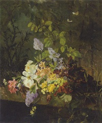a still life with flowers on a ledge by a pond by rudolf jahns