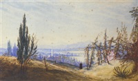 a distant view of the arno, northern italy, morning by john robert mather