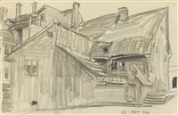 untitled (back yard in or around weimar) by lyonel feininger