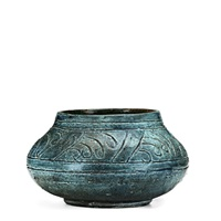 squat, student vessel in teal banding to shoulder by arequipa pottery