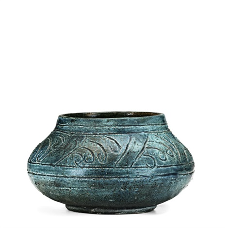 squat student vessel in teal banding to shoulder by arequipa pottery