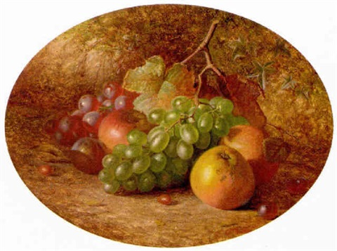 apples, grapes and a plum, on a mossy bank by charles archer