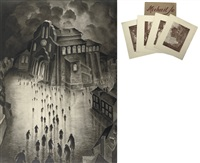 on the way to the synagogue (+ 4 photolithographs manner of artist; 5 works) by michail jo