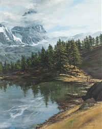 snowy mountains with lake by morten e. solberg