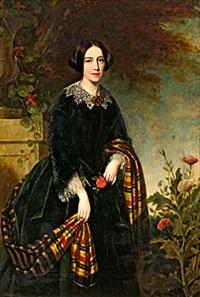porträtt av dam med svart klänning och skotskrutig sjal by carl christian vogel von vogelstein