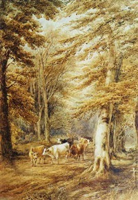 cattle in a forest by henry (sr.) earp