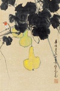 葫芦小鸟 立轴 设色纸本 by qiao mu