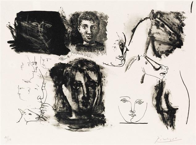 Page de Croquis Têtes dEnfants et de Chevaux by Pablo Picasso on artnet