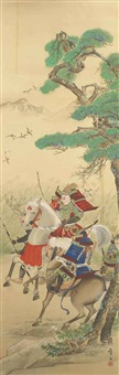 minamoto no yoshiie in full armour on horseback by moikawa sobun