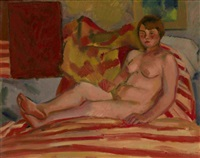 nude on striped fabric by nikolai andreevich tyrsa