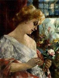 junge frau mit rosenblüten by david (dalhoff) neal
