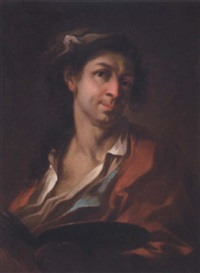 portrait of an artist wearing a red coat, holding his palette with his left hand (giosué scotti?) by giosue' scotti