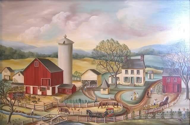 Folk Art Landscape Depicting A Farm With Barn And Silo Farmhouse Figures Animals
