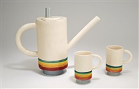 coffee pot and mugs (3) by peter shire