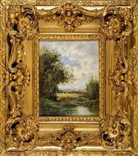 paysages animés (2 works) by leon victor dupré