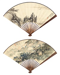 李研山、卢振寰 双面绘扇·观云图 sailing in river and hermit scholar by li yanshan, luo zhenyu, yi lixun, ding yu, gao chengzuo and yang yuzan