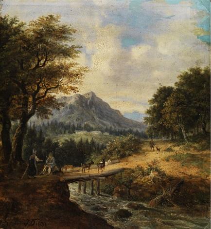 gebirgslandschaft mit bachlauf by german school southern 19