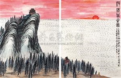 溊清万里图 thousand hundred miles in 6 parts by qi baishi