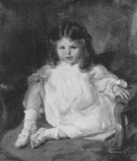 portrait of a young girl in a white dress by lindsey smith