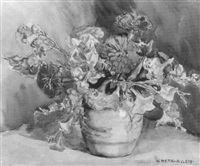 floral still life with zinnias by greta allen