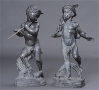 mercury with a turtle and pan with a frog (2 works) by wheeler williams