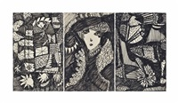 lady in the garden: abstract triptych by madge gill