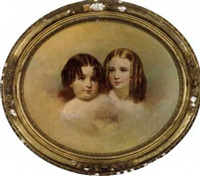 portrait of two young girls by samuel bell waugh