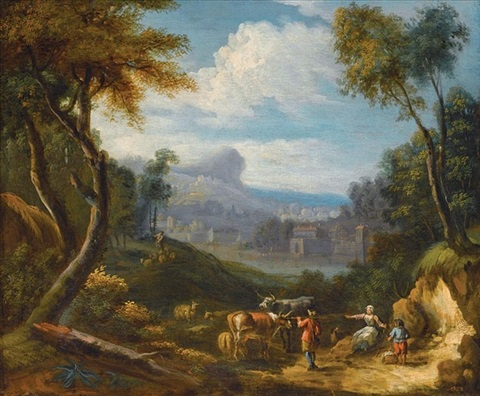 an italianate landscape with drovers and their animals in the foreground by anglo flemish school 18