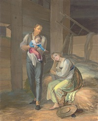 a young farmer and his family relaxing in a barn by johann georg volmar