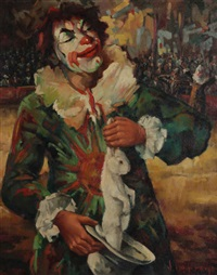 scène de cirque avec clown sortant un lapin de son chapeau by jef van tuerenhout