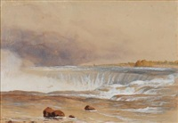 niagara falls with the old terrapin tower and horseshoe falls and untitled (2 works) (3 works) by colonel edmund gilling hallewell