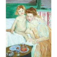 mother and child - baby getting up from his nap (after mary cassatt) by blanche whelan