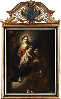 der heilige antonius von padua (im ordenskleid der franziskaner) in anbetung von maria mit kind by franz joseph spiegler