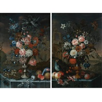 still life of flowers in a silver urn, with grapes, other fruit and a parrot, all resting on a table with a landscape beyond (+ still life of flowers in a silver and gilt urn with cherries; 2 works) by a. sangiovanni