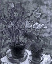 still life of potted pink tulips and purple and white flowers by florence w. pomeroy
