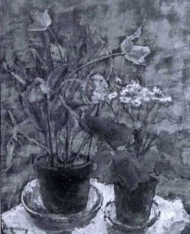 still life of potted pink tulips and purple and white flowers by florence w pomeroy