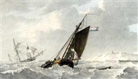 a dutch barge in an onshore breeze by lodewijk gillis haccou