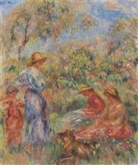 deux femmes assises et une debout, un enfant (paysage avec trois femmes et un enfant) by pierre-auguste renoir