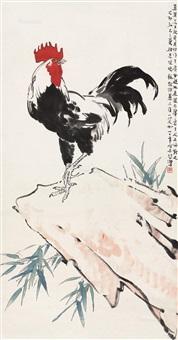 大吉图 立轴 设色纸本 ( cock) by xu beihong