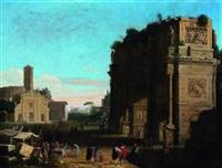 vue de l'arc de constantin à rome placé devant l'église saint côme et saint damien by herman van swanevelt