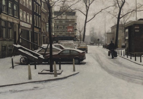 haarlemmerplein in winter amsterdam by frans koppelaar